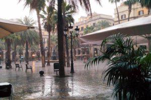 Place royale avec palmiers sous la pluie Barcelone.
