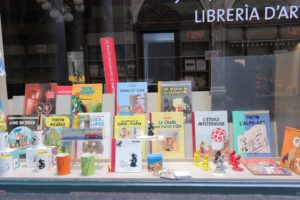 Vitrines Tintin des galeries royales Saint-Hubert Bruxelles.