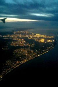 Barcelone vue du ciel depuis l'avion.