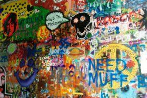 Graffitis mur John Lennon Lennon Wall Prague.