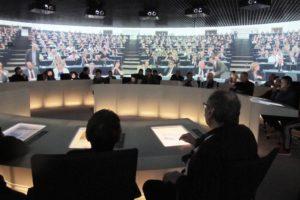Intérieur du Parlementarium, musée du parlement européen Bruxelles.