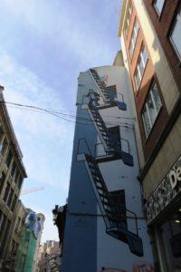 Fresque parcours BD street art Tintin, Milou et le capitaine Haddock Bruxelles.