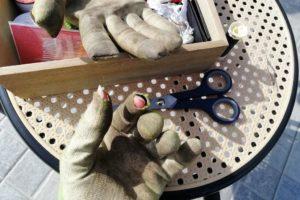 En train de reprise des gants de jardinage.
