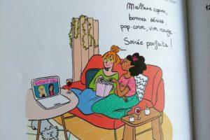 Illustration hygge de Marygribouille, meilleur copine, série, pop corn et vin rouge.