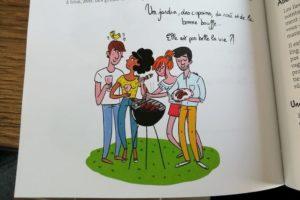 Illustration hygge de Marygribouille, jardin, copains, rosé et bonne bouffe.