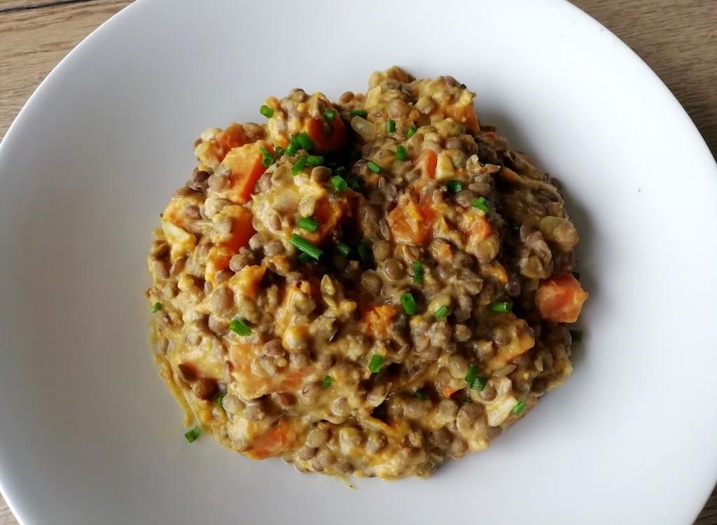 Assiette du curry potimarron lentilles coco