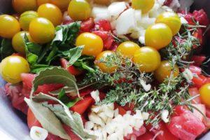 Ingrédients sauce tomate