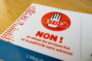 Stop pub : NON je refuse les prospectus et la publicité sans adresse