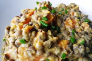 Gros plan sur l'assiette du curry potimarron lentilles coco