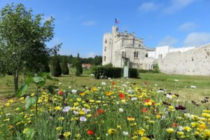 Vue sur le château d'Hardelot et les jardins fleuris
