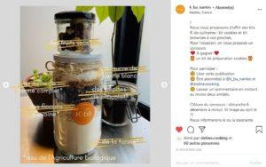Concours Instagram sur la page de K-ba Nantes pour gagner un kit pour cookies